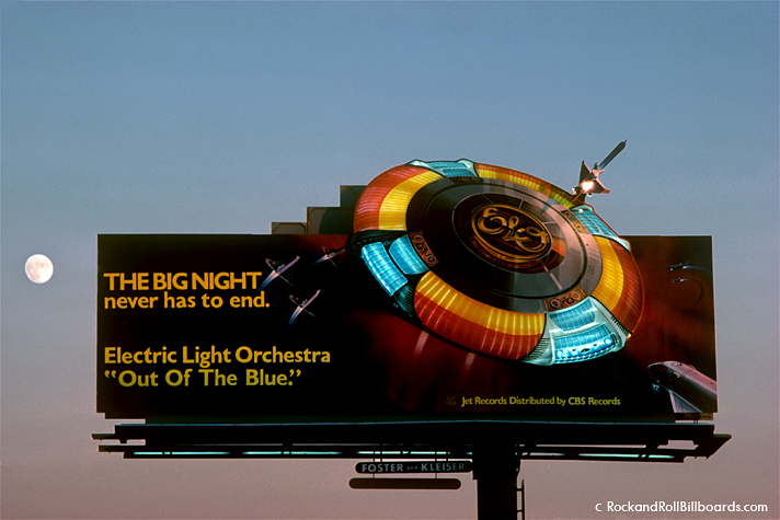 Electric Light Orchestra commissioned this billboard with a giant illuminated spaceship, later used for their stage shows, in 1979. Photo by Robert Landau.