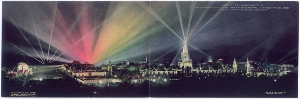 This panoramic postcard of the PPIE shows the fair's nighttime illumination. Courtesy Laura Ackley. (Click to enlarge)