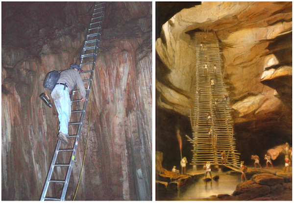 "The ladders used to get researchers into the Midnight Terror Cave (left) are reminiscent of the stairway drawn by architect and artist Frederick Catherwood (right), whose ""Incidents of Travel in Central America, Chiapas and Yucatán,"" published in 1841, re-introduced Mesoamerica to the Western World."