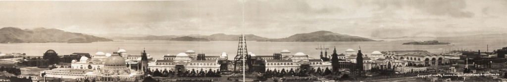 A panoramic view of the PPIE grounds during construction in 1914. The Palace of Fine Arts at the far left and the Tower of Jewels at center are only steel frames. Via the Library of Congress. (Click to enlarge)