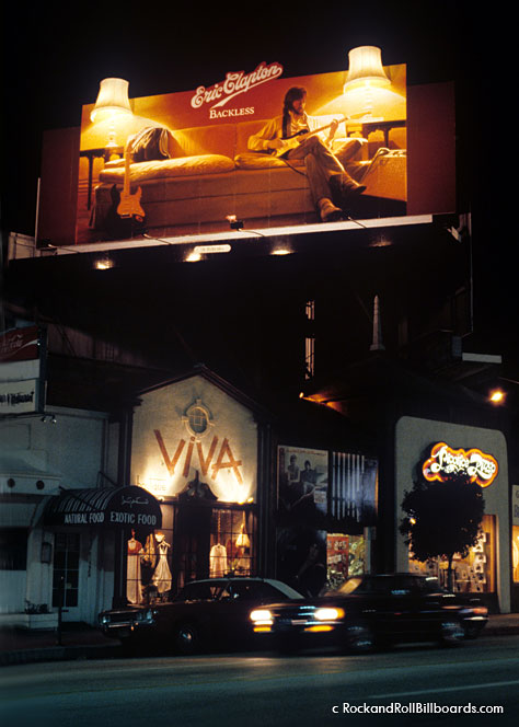 This 1978 Eric Clapton billboard included two 3-D lamps that actually lit up at night. Photo by Robert Landau.