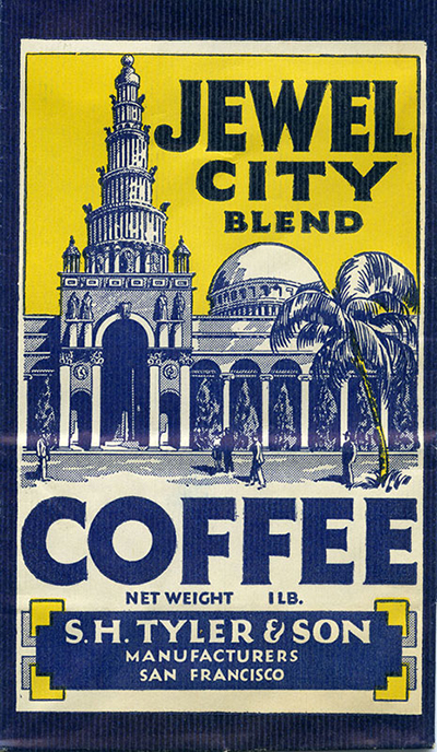 Many companies used the PPIE as an opportunity to boost sales, seen here on a S.H. Tyler & Son coffee bag. Courtesy the Seligman Family Foundation.