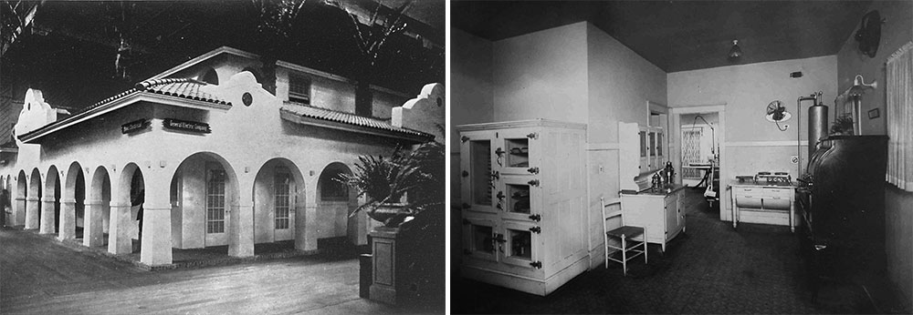 "Left, the General Electric ""Home Electrical"" exhibit was designed as a modern California residence. Courtesy Laura Ackley. Right, the kitchen of G.E.'s exhibit featured novel electric appliances including an electric kettle, fan, and stovetop. Courtesy Donna Ewald Huggins."