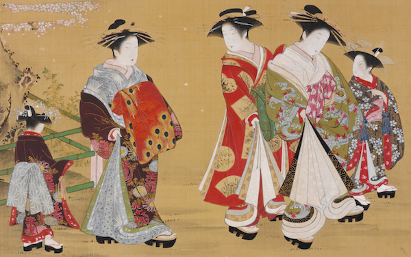 "Kubo Shunman's hanging scroll, ""Courtesans Promenading Under Blossoming Cherry,"" 1781-1789, shows two courtesans with lantern-lock hairdos and ""cute dumpling bodies"" on parade with their attendants. (From the John C. Weber Collection, image © John Bigelow Taylor)"