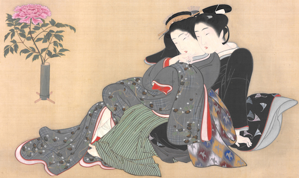 "A young couple cuddles near a peony in a vase, which symbolizes their sexual connection, in a panel from Katsukawa Shunshō's ""Secret Games in the Spring Palace,"" from the late 1770s. (From the John C. Weber Collection, image © John Bigelow Taylor)"