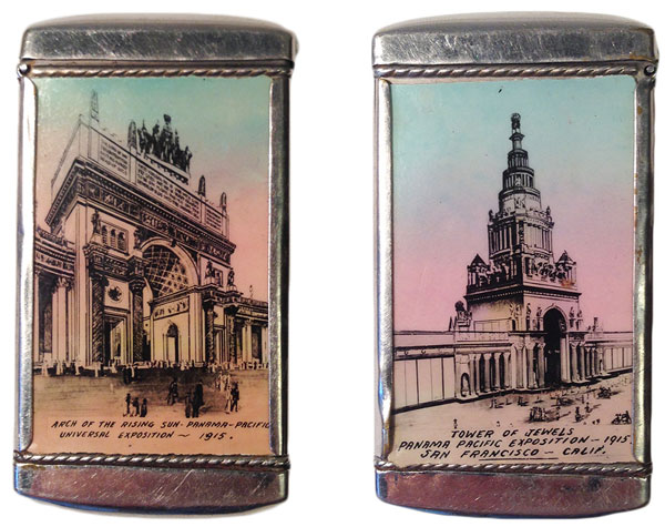 A souvenir matchsafe showing buildings of the PPIE. Courtesy the Seligman Family Foundation.