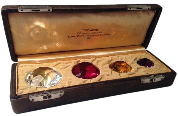 A set of souvenir cut-glass