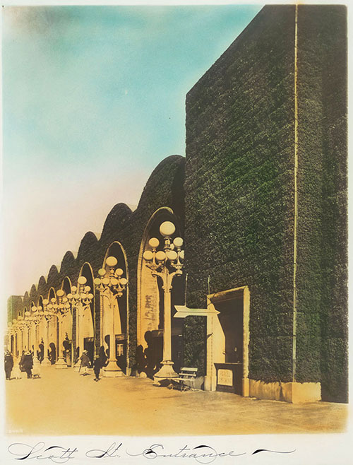 The Scott Street entrance of the PPIE with its gigantic, arched hedge wall. Via the San Francisco Public Library.