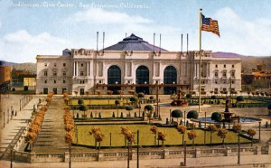 A postcard view of Civic Center Plaza and the Exposition Auditorium, designed as a permanent gift to San Francisco.
