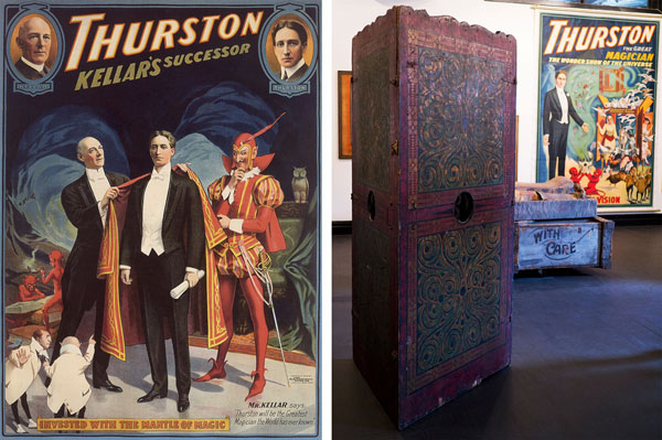 Left, a 1908 poster features Kellar passing the mantle to Thurston. Image courtesy Rory Feldman. Right, Thurston's Spirit Cabinet on view at the Morbid Anatomy Museum. Image courtesy Joanna Ebenstein.