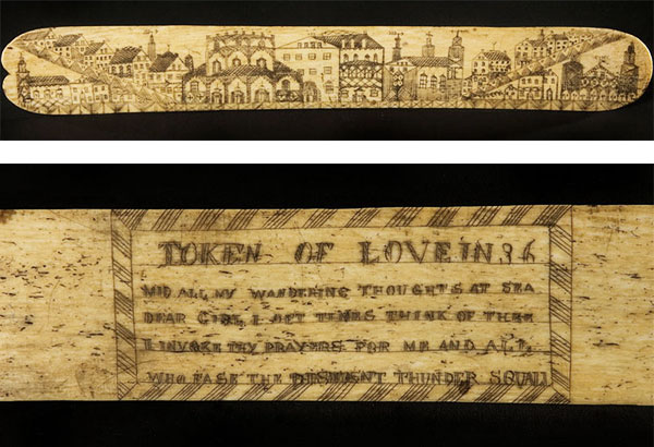 "A scrimshaw ""whalebone"" busk housed at the Smithsonian Institute's ""On the Water"" collection features a cityscape on the front and a love poem on the back. (Via americanhistory.si.edu)"