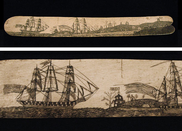 Scrimshaw busk and detail that shows whaling ships sailing into port.