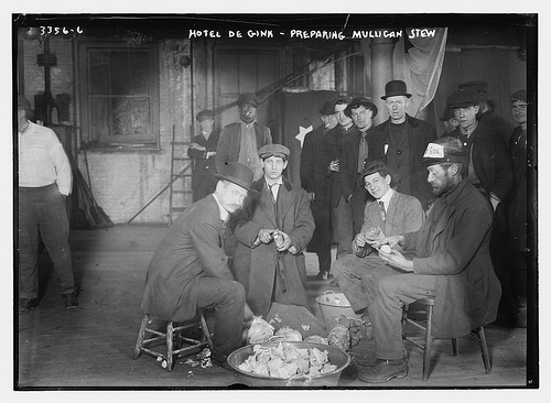 Hoboes prepare mulligan stew at New York's Hotel de Gink in the 1910s.  (From the Bain Collection, Library of Congress)