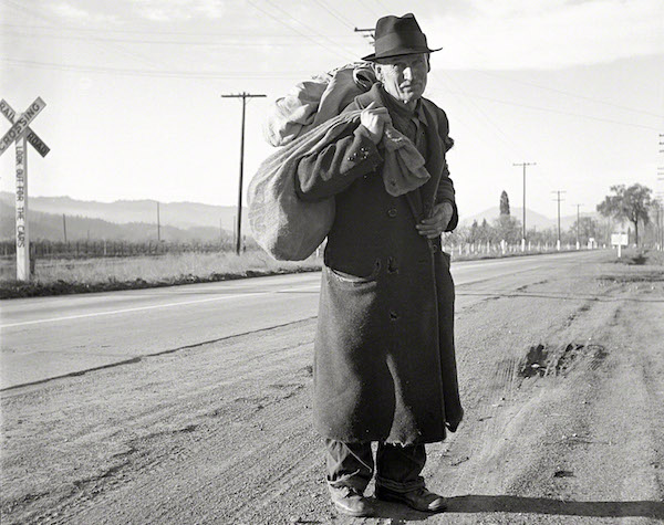 "The caption on this 1938 Dorothea Lange photo reads, ""More than 25 years a bindle stiff. Walks from the mines to the lumber camps to the farms. The type that formed the backbone of the Industrial Workers of the World (IWW) in California before the war."" (Via Library of Congress)"
