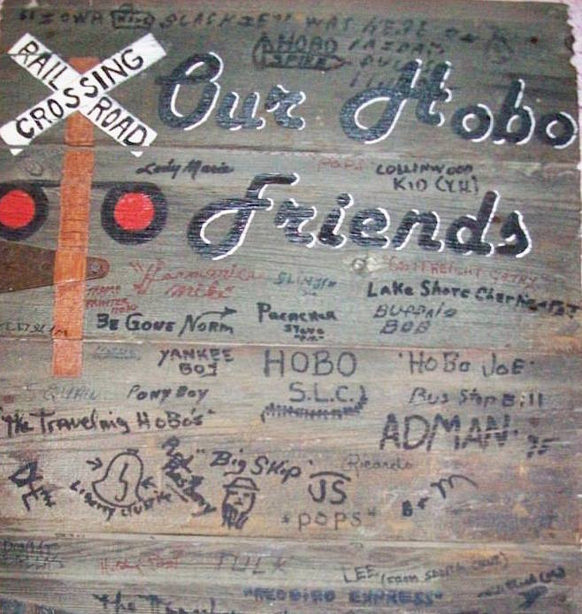 At Mary Jo's Hobo House restaurant, hoboes sign this piece of driftwood. (Via the Hobo House Facebook page)