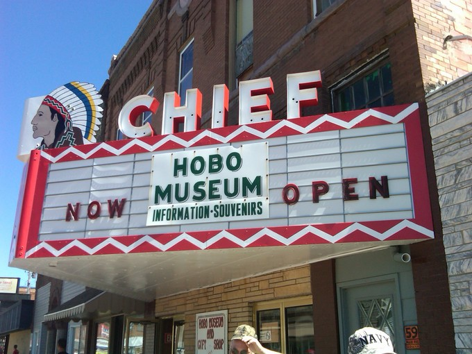 The exterior of the Hobo Museum in the old Chief Theater in Britt, Iowa. (Via the Hobo Museum)
