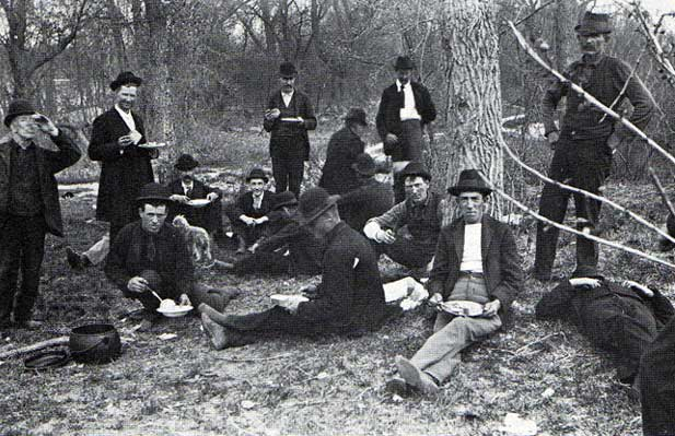 Men Sharing A Meal At A Hobo Jungle In 1895. (Via The Hobo Museum