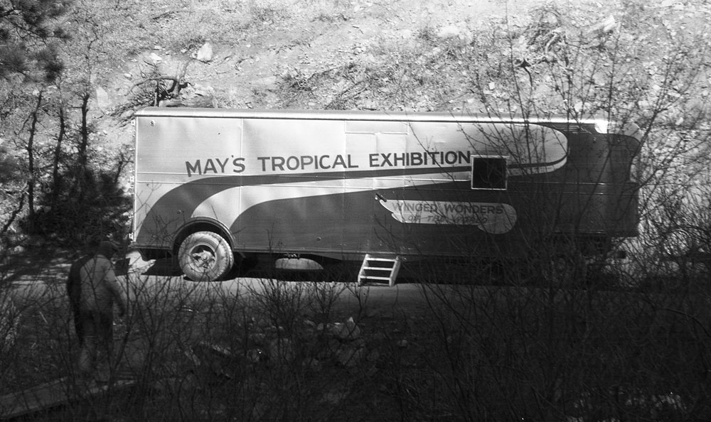 The Mays' travel trailer was used to take parts of the collection on tour for various state fairs, car shows, and other events that drew a crowd through the 1950s.