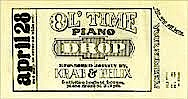Piano Drop tickets were designed by Larry Van Over.