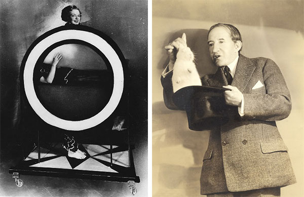 Left, Thurston's Vivisection Illusion, circa 1935. Right, Thurston pulled rabbits from audience members' hats and coats and jokingly gifted them to their children. Images courtesy Rory Feldman.