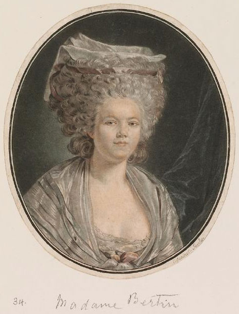 "An <a href=""http://collection.waddesdon.org.uk/search.do?view=detail&page=1&id=42670&db=object"">engraving</a> of Rose Bertin by Jean-François Janinet after her portrait, which was painted around 1780 by celebrated artist Louis Trinquesse, who also painted the Queen."