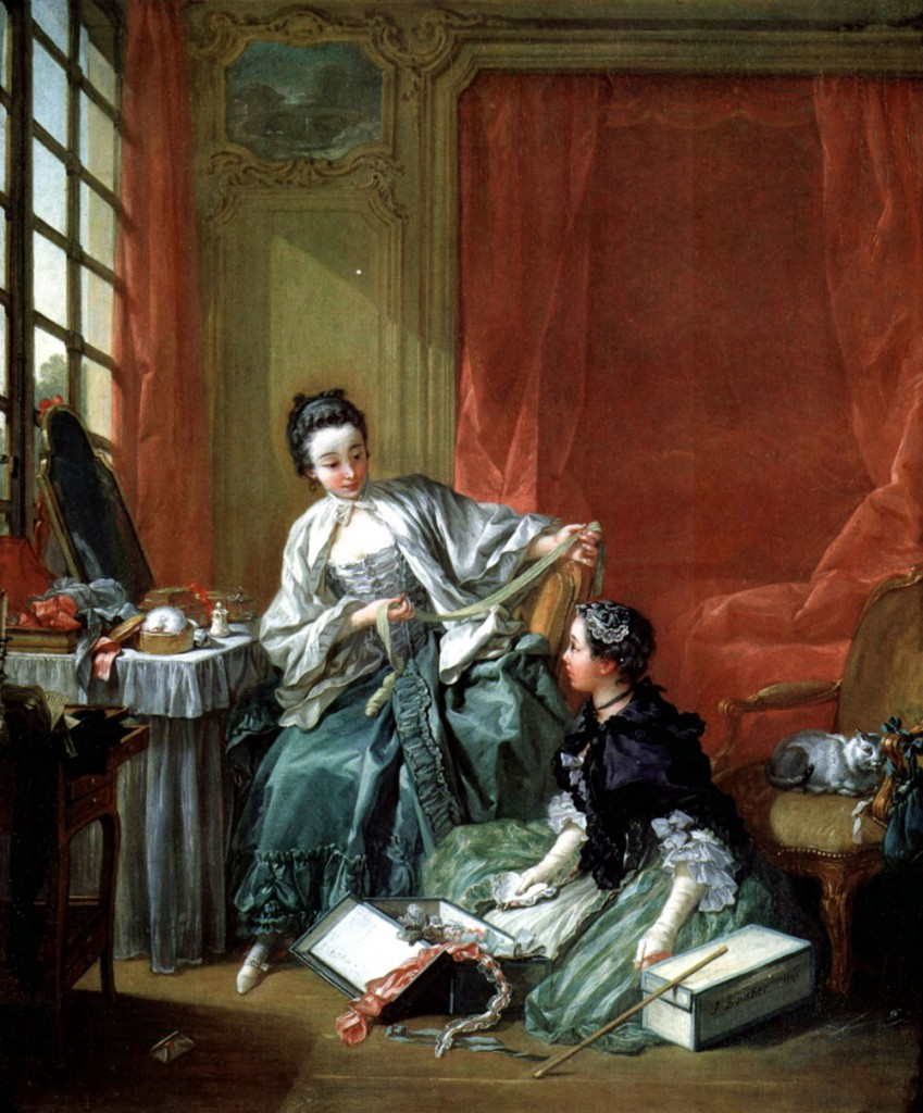 "François Boucher painted this scene in 1746. Entitled ""La marchande de modes,"" it depicts a milliner and client. Image courtesy the National Museum of Scotland."