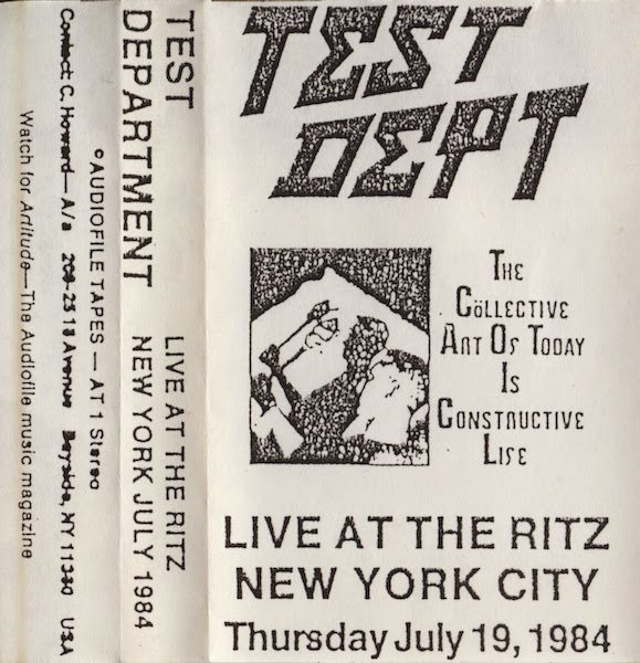 A 1984 live recording of Test Department was released by Carl Howard's audiofile cassette label. (Via tapeattack.blogspot.com)