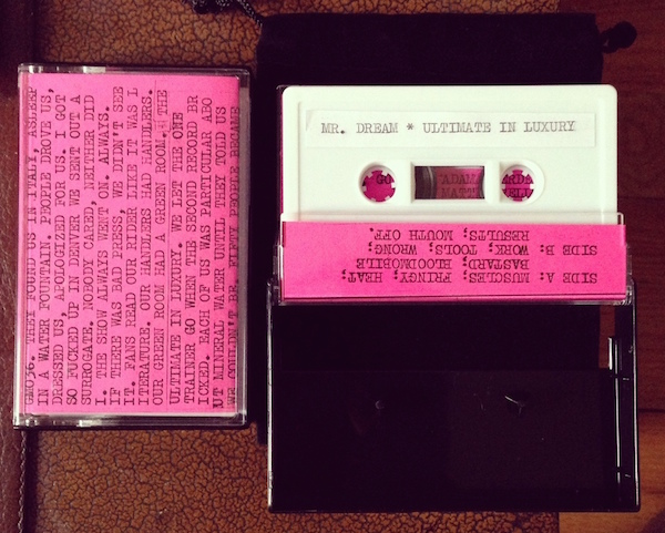"Nick Sylvester released ""Ultimate in Luxury"" by his own band, Mr. Dream, on GODMODE, with a hand-typed sticker label. (Via EnterGODMODE.com)"