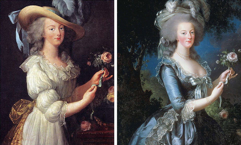 "In 1783, Louise Élisabeth Vigée Le Brun painted Marie Antoinette in a white chemise gown, at left, but public outrage over the image of the Queen in her ""underwear"" inspired Le Brun to redo the portrait in a more formal dress, seen at right."