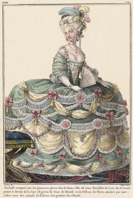 The caption for this 1781 fashion plate claims this duchess in courtly dress was very close with the Queen. Image courtesy the Museum of Fine Arts, Boston.