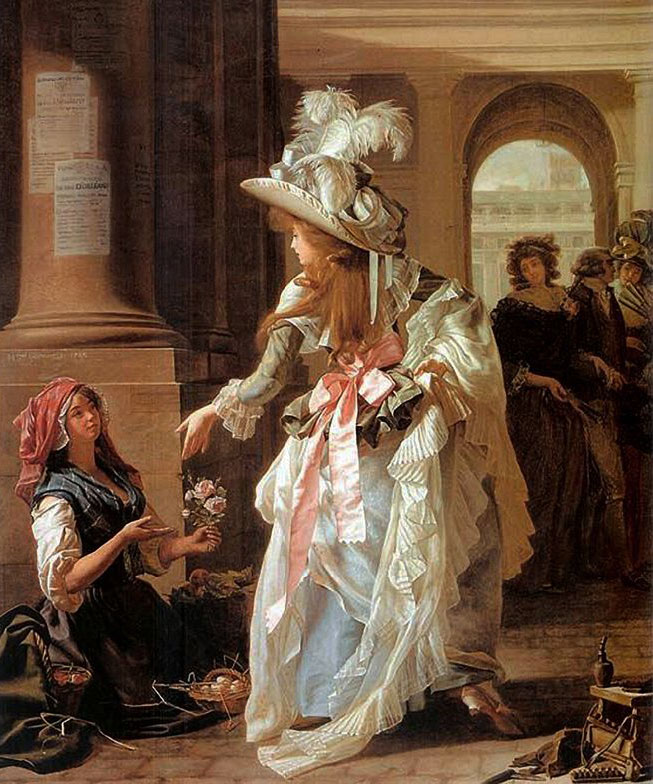 "Michel Garnier's 1787 painting, ""A Fashionably Dressed Young Woman in the Arcade of the Palais Royal,"" captures the catwalk quality of Paris' popular public gathering places."