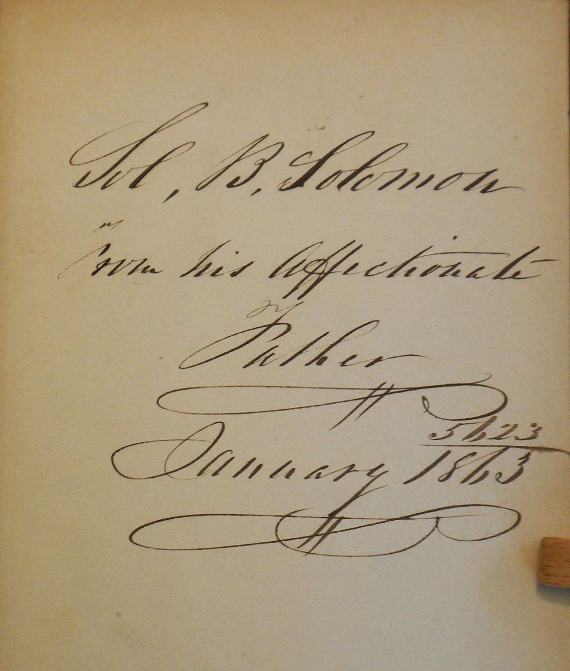 The inscription inside the first volume of the set, dated 1863, is to a prominent New York Jewish leader named Solomon B. Solomon. The writer is Solomon's father.