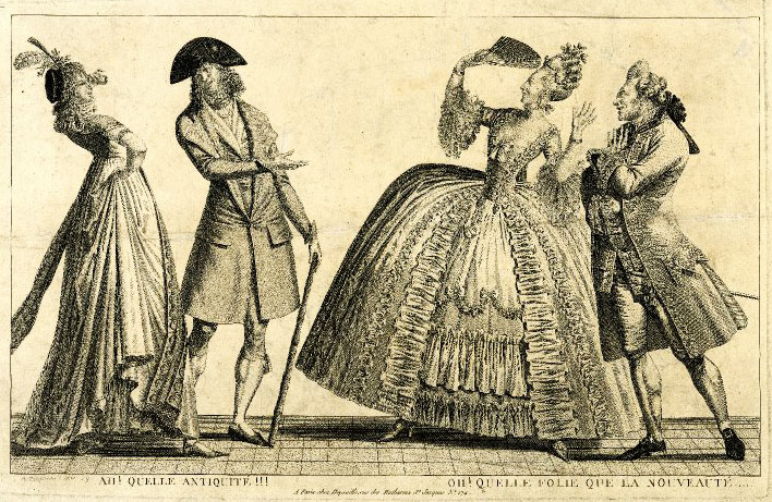"Top: An illustration from 1778 of the ""Coiffure de l'indépendance,"" a hairstyle referencing the American Revolution. Above: A 1797 etching shows two couples mocking each other's fashion sense, with the ""nouvelle riche"" on the left and the ""ancien régime,"" or old guard, on the right."