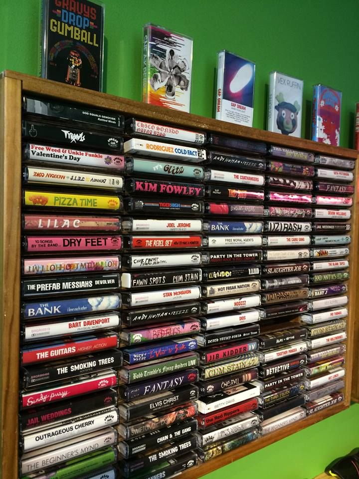 Tapes on display at a recent Burger Records pop-up shop in Tokyo, Japan. (Via the Burger Records Facebook page)