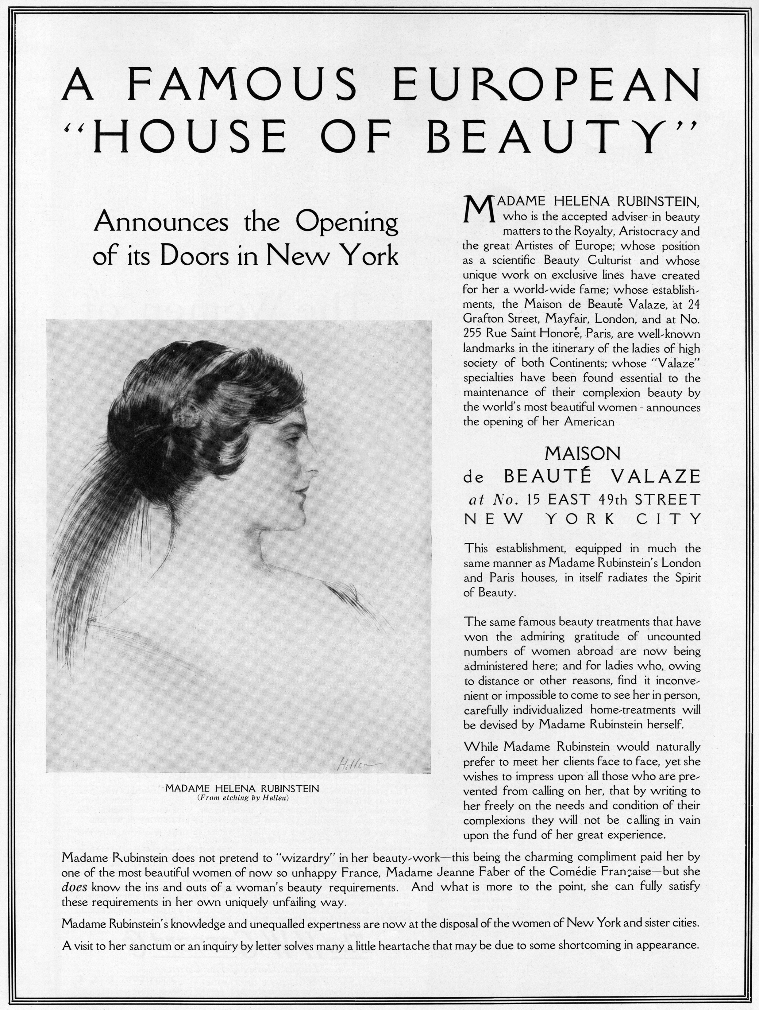 "A 1915 ""Vogue"" advertisement announces Rubinstein's inaugural beauty salon in New York. The ad features a portrait of Rubinstein by Paul César Helleu. Click on the image to see a larger version. (Courtesy of the Jewish Museum)"