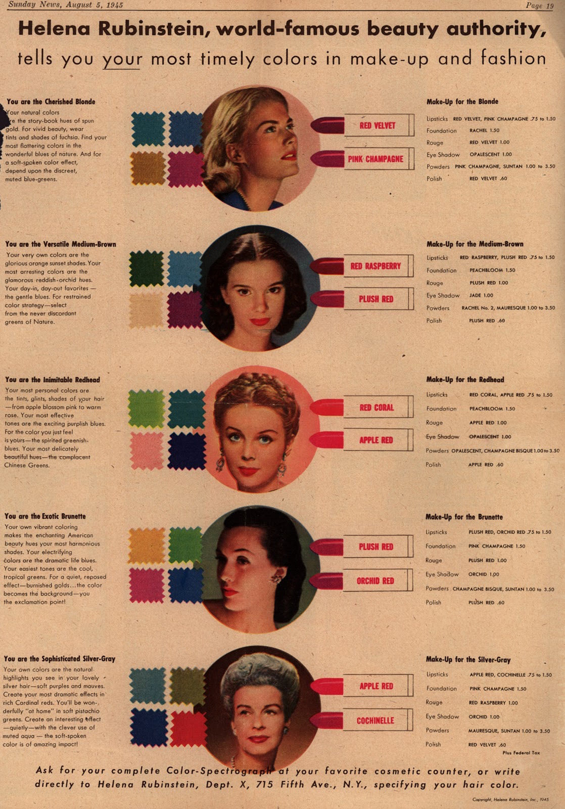 "A 1945 Helena Rubinstein ad explains her ""Color-Spectograph"" approach to makeup. Click on the image to see a larger version. (Via Vintage Ad Browser)"