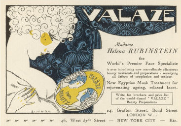 An ad for Rubinstein's Valaze beauty preparation from the 1910s. (© Helena Rubinstein, Inc.)