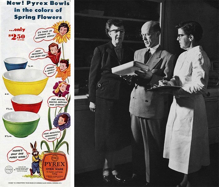 Left, an ad for Pyrex mixing bowls from 1946. Right, Dr. Lucy Maltby, Charles Oliver, and June Packard discuss a new product line in 1954. Courtesy the Corning Museum of Glass.