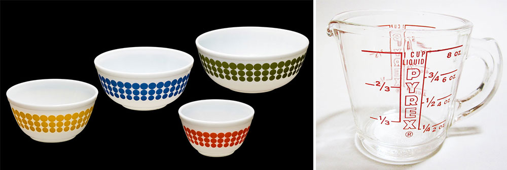 Top:  A two-quart covered casserole dish produced by Pyrex in 1960. Above: Left, a set of mixing bowls in the Dots pattern, circa 1970. Right, a Pyrex liquid measuring cup from 1953. Courtesy the Corning Museum of Glass.