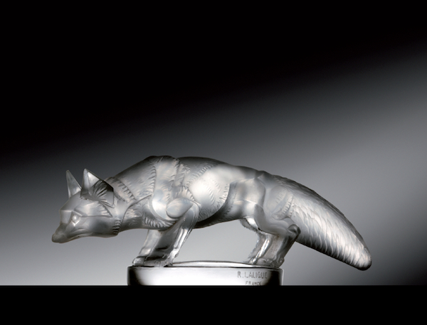 Top: Chrysis (Nude Female), mounted on the radiator base of a Rolls-Royce Silver Wraith. Above: Renard (Fox) is considered one of the rarest Lalique mascots of the inter-war years.