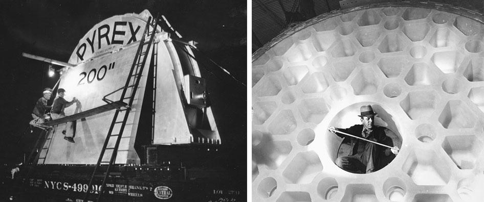 Left, the telescope disk's shipping crate is prepared for transport in 1935. Right, the disk's diameter is measured after being cast. Courtesy the Corning Museum of Glass.