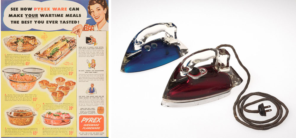 Left, glass cookware was advertised as a useful material to conserve metal during World War II. Right, Silver Streak electric irons were made from Pyrex glass in 1946. Courtesy the Corning Museum of Glass.