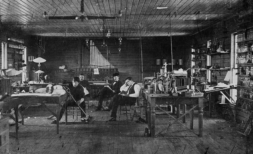"""Edison's assistants in his Menlo Park, New Jersey, lab circa 1880. Via the <a href=""""http://www.misci.org/"""">Museum of Innovation and Science</a>inSchenectady, New York."""
