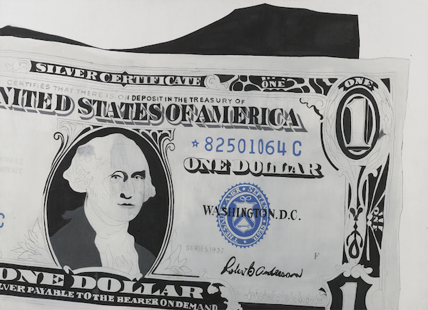 "Top: ""Comedy & Tragedy,"" 2013, by Mark Wagner, from the collection of Harley J. Spiller. Above: ""One Dollar Bill (Silver Certificate),"" 1962, by Andy Warhol, via Sotheby's."