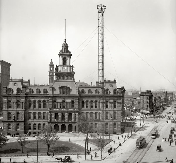 An arc-light tower rises over Detroit's City Hall, circa 1905. Via Shorpy.