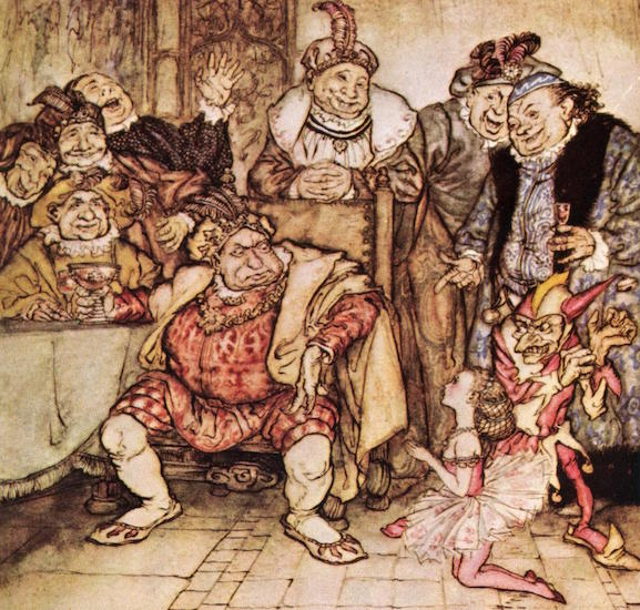"In Edgar Allan Poe's 1849 short story ""Hop-Frog,"" the titular little person, a king's ""natural fool"" with disabled legs, falls in love with a beautiful little person named Trippetta and seeks revenge against the royals for abusing her. Arthur Rackham drew this illustration in 1935. (Via WikiCommons)"