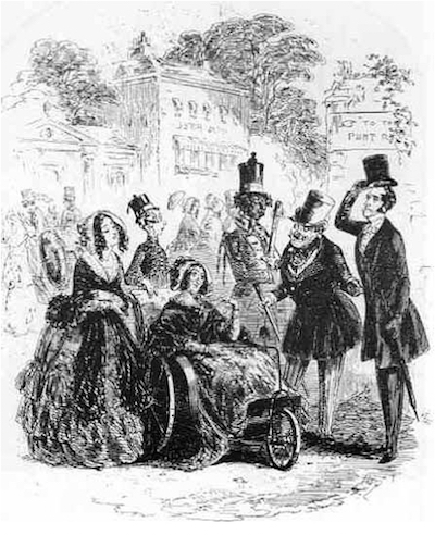 "In Charles Dickens' ""Dombey and Son,"" published between 1846 and 1848, Mrs. Skewton, seated in a three-wheeled chair, is greeted by a gentleman who tips his hat to her. (Via Nineteenth-Century Disability, scan by Philip V. Allingham, Victorian Web)"