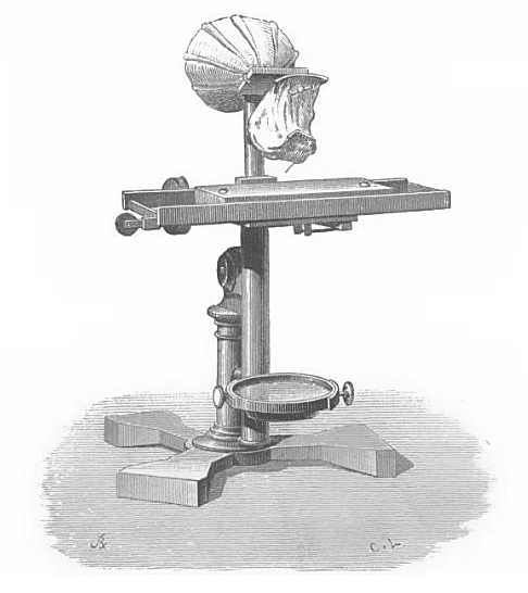 "Alexander Graham Bell and Clarence J. Blake's ear phonautograph incorporated an actual human ear, taken from a corpse, into machinery designed to draw shapes based on a deaf student's vocalizations. The phonautograph inspired Bell to invent the telephone. The image comes from Count du Marcel's 1879 book, ""The Telephone, the Microphone and the Phonograph."" (Via Nineteenth-Century Disability, via <a href=""https://archive.org/details/telephonemicrop00moncgoog"">Archive.org</a>)"