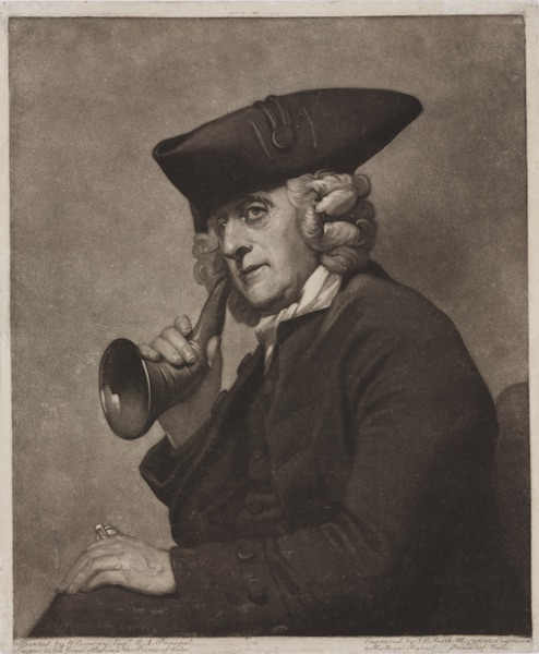 A 1786 mezzotint of James Hutton, a Moravian minister and bookseller, showing him using his ear trumpet, by J.R. Smith after R. Cosway. (Via The Science Museum in South Kensington, U.K.)