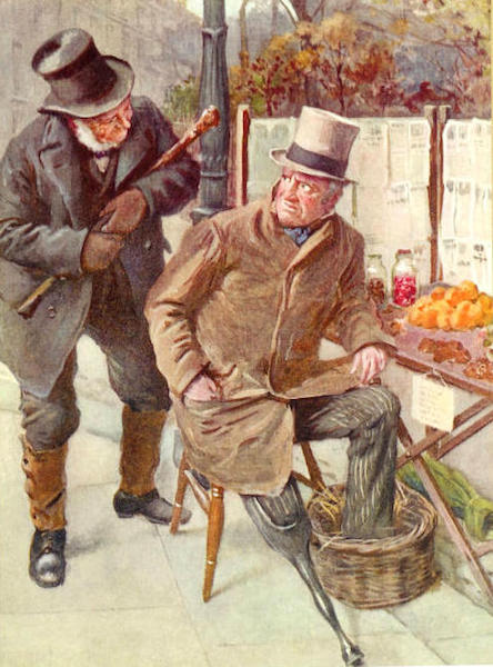 "Harold Copping's 1924 illustration for Charles Dickens' ""Our Mutual Friend,"" written 1864-'65, shows Mr. Boffin addressing Silas Wegg, who keeps his foot warm in a basket. (Via Victorian Web)"